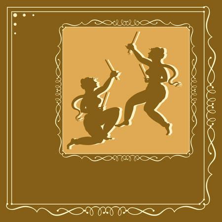 indian dance: Garba Indian Dance Vector Art Illustration