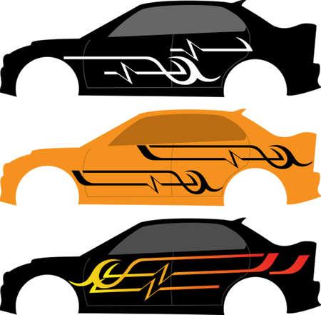 車のグラフィック、ストライプ: ビニール準備ベクター アート