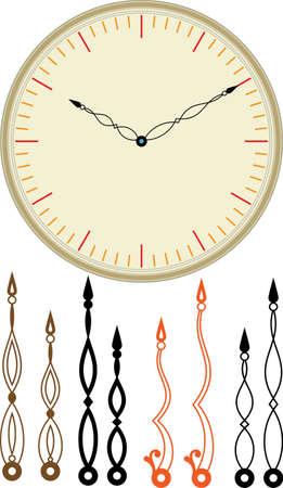 ornamentals: Clock Dial, Ornamentals Arm Hands (Hour, Minute) Set Vector Art