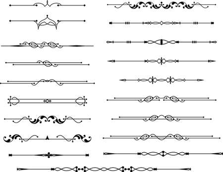 lineas decorativas: Arte del texto Divisor Diseño ornamental del vector