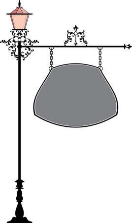cast iron: Wrought Iron Signage With Lamp, Lantern Vector Art Illustration