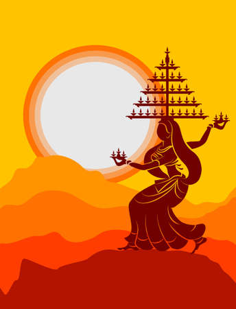 indian boy: Garba Indian Dance Vector Art Illustration