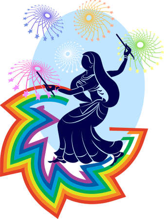 mano de dios: Arte Garba india Danza Vector