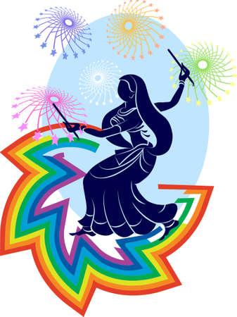 asian indian: Garba Indian Dance Vector Art Illustration