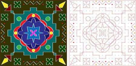 rangoli: Rangoli Ornamental Design Vector Art