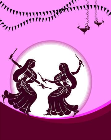 Garba Indian Dance Vector Art Illustration