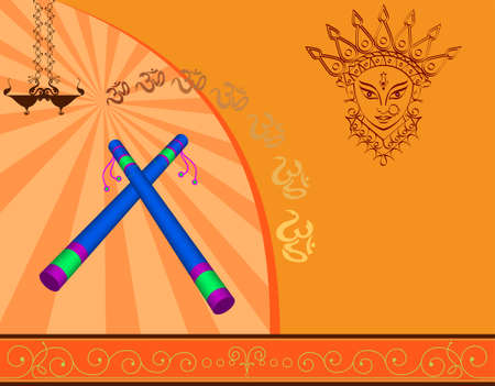 deepawali backdrop: Garba Indian Dance Vector Art Illustration