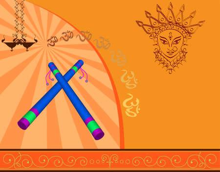 deepawali backdrop: Garba Indian Dance Vector Art Illustration