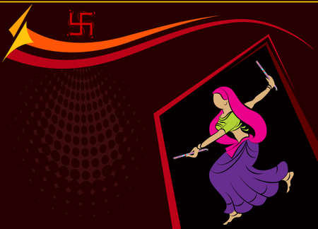 indian women: Garba Indian Dance Vector Art Illustration