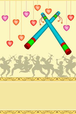 hindu goddess: Garba Indian Dance Vector Art Illustration