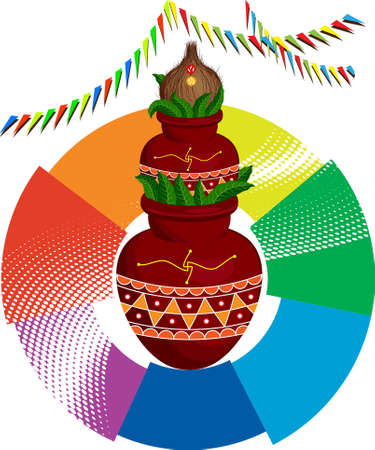 Divine Mangal Kalash With Coconut Vector Art Illustration