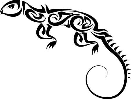indian fish: Tattoo Lizard Design Vector Art