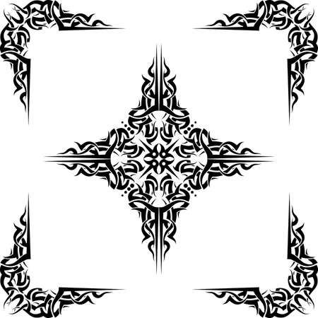 symbol decorative: Tattoo Cross Corners Vector Art Illustration