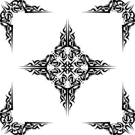 symbol decorative: Tattoo Cross Corners Vector Art Illustration