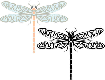 dragon fly: Tattoo Dragonfly Design Vector Art Illustration