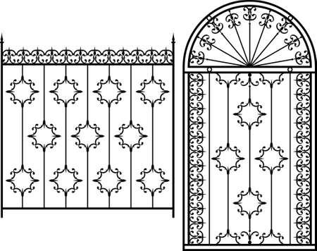 portones: Puerta de hierro forjado, puerta, valla, ventana, Grill, Arte Barandilla de dise�o vectorial