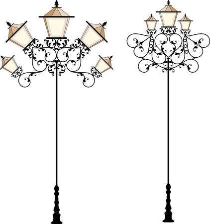 lamp post: Wrought Iron Street Lamp Post Vector Art