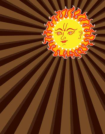 hindu god: Sun Abstract Background Vector Art