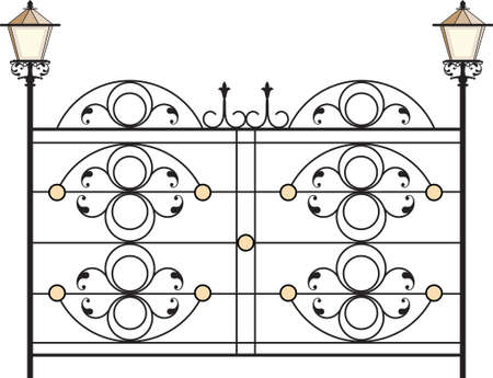 cast iron: Wrought Iron Gate With Lamp Vector Art