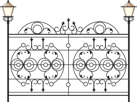 victorian fence: Wrought Iron Gate With Lamp Vector Art