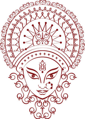 Durga dea della potenza grafica vettoriale Archivio Fotografico - 46425632