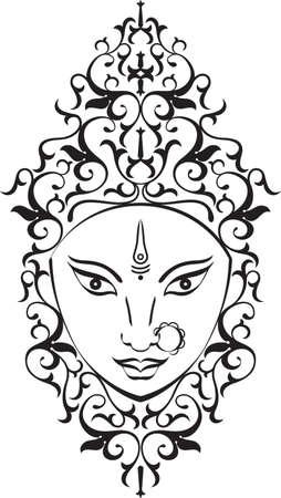 Durga Goddess of Power Vector Art Vettoriali