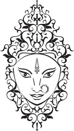 Durga Goddess of Power Vector Art Illustration