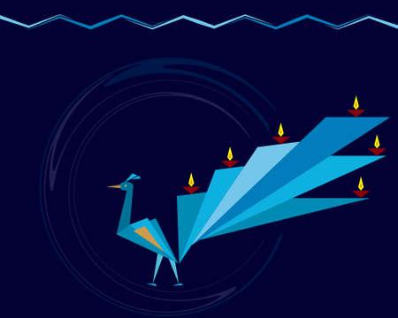 deepak: Diwali Greeting Peacock Vector Art Illustration