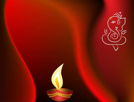 candil: Ganesha Diwali Vector de felicitación del arte Vectores