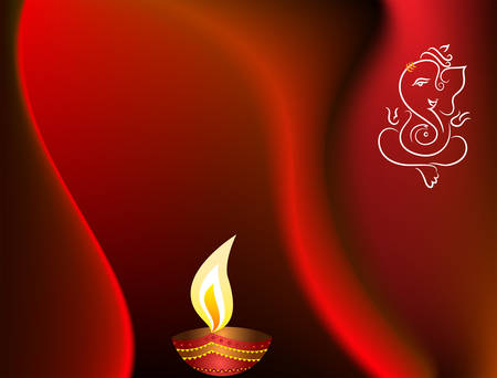 an oil lamp: Ganesha Diwali Vector de felicitación del arte Vectores