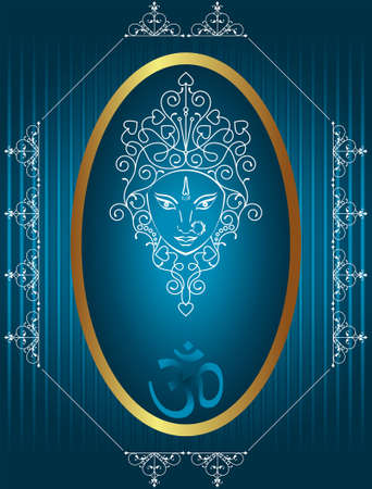 om symbol: Durga Goddess of Power Vector Art Illustration