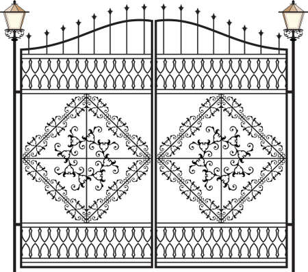 metal gate: Wrought Iron Gate With Lamp Vector Art