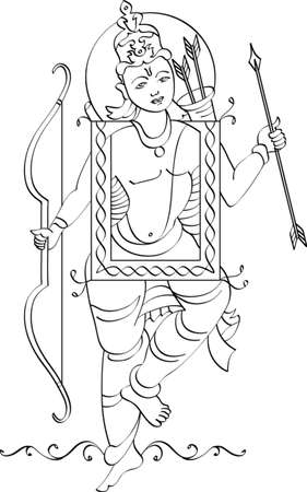 asian and indian ethnicities: Folk Style Ram Vector Art