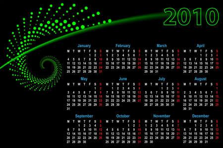 Calendario 2010 Diseño Arte Vector Foto de archivo - 46343977