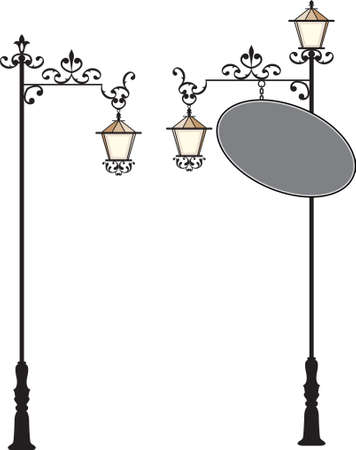 Wrought Iron Signage With Lamp, Lantern Vector Art Illustration