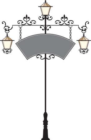 signage: Wrought Iron Signage With Lamp, Lantern Vector Art Illustration