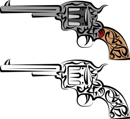 Tattoo Gun Design Vector Art
