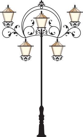 lamp post: Wrought Iron Street Lamp Post Vector Art