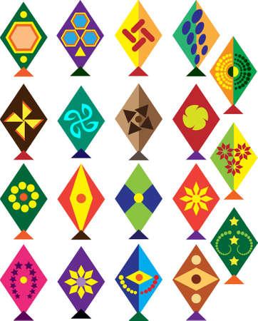 paper kites: Kite Design Collection Vector Art Illustration