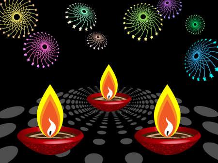 deepak: Diwali Greeting Fire Works Vector Art