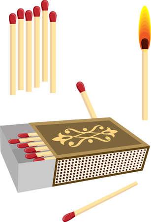 box of matches: Matchbox With Matches Vector Art