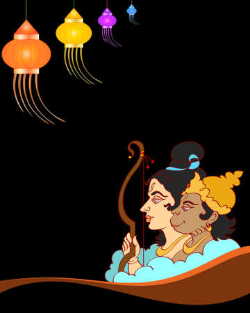 hindu god: Lord Rama With Hanuman Ape (Monkey) God Vector Art