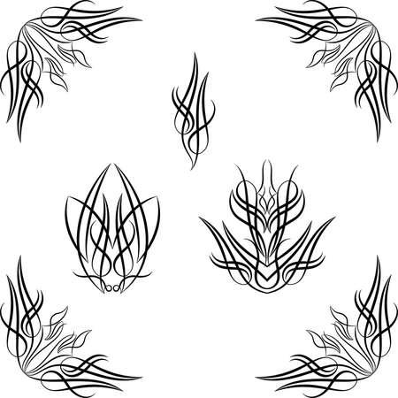 pinstripe: Pinstripe Graphics, Corner : Vinyl Ready Vector Art Illustration