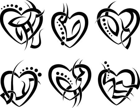 dessin coeur: Art Tattoo Heart Vector Design Illustration