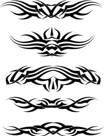 Art Tattoo Arm Band Set Vector