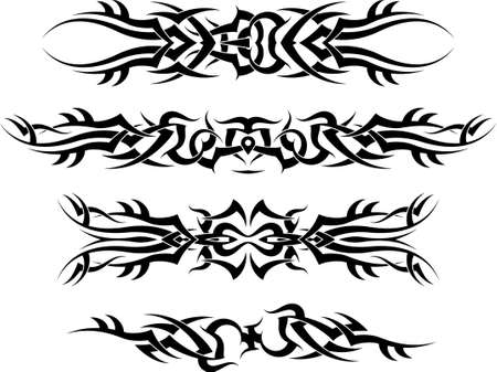 tribales: Art Tattoo Arm Band Set Vector Vectores