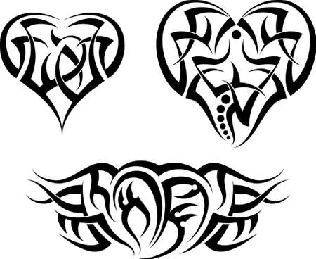 tattoo arm: Tattoo Heart Design Vector Art Illustration