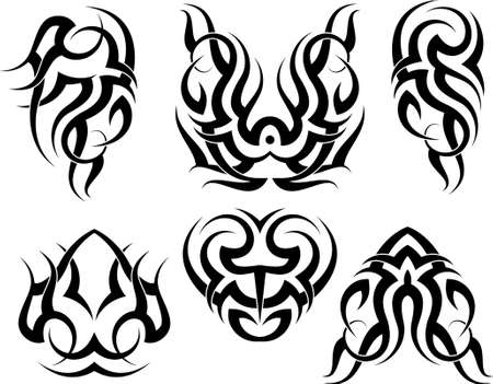 tattoo arm: Tribal Tattoo Set Vector Art