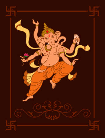 indian tattoo: Ganesha The Lord Of Wisdom Vector Art Illustration