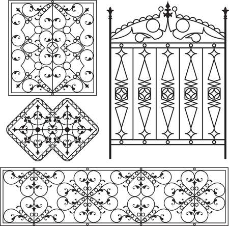 cast iron: Wrought Iron Gate, Door, Fence, Window, Grill, Railing Design Vector Art